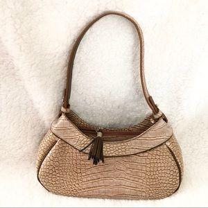 Liz Claiborne tan alligator embossed shoulder bag